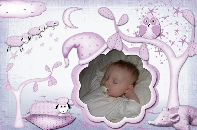 Рамка для младенца девочки Нежный сон, вставить фото онлайн.